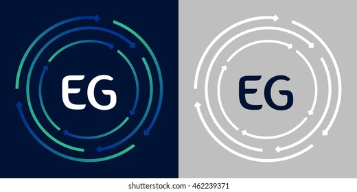 EG design template elements in abstract background logo, design identity in circle, letters business logo icon, blue/green alphabet letters, simplicity graphics