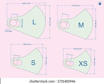 Design template face mask neoprene materia pattern, curve, mold, sweep