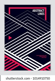 Design template for flyer, booklet, greeting card, invitation and advertising. Geometric line pattern vector abstract advertising art. Minimalistic brochure design. A4 print format.