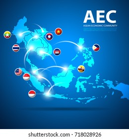 Design template infographics of Asean Economic Community