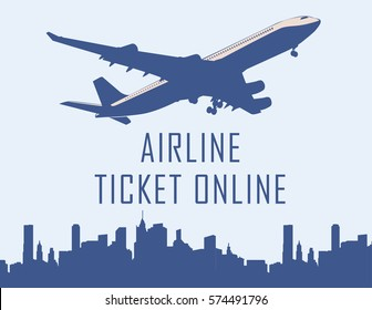 Design template with jet plane. Vector image.
