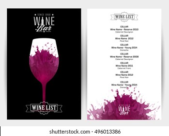 Design Template list, wine tasting or invitation. Illustration glass of wine. Background with wine stains, expressive texture. Idea for your design. Vector