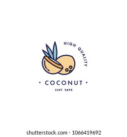 Design template logo and emblem - taste and liquid for vape - coconut. Logo in trendy linear style