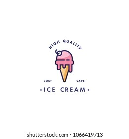 Design template logo and emblem - taste and liquid for vape - ice cream. Logo in trendy linear style