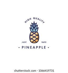 Design template logo and emblem - taste and liquid for vape - pineapple. Logo in trendy linear style