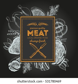 Design template for meat market. Menu label with meat meal. Hand-drawn vector illustration