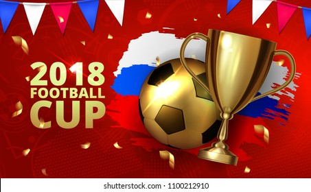 Design template mock up football 2018 world championship cup background soccer tournament league. Golden prize football with ball and golden cup with brush ink three color flag. Vector illustration