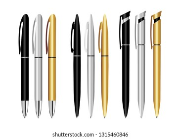 Design template, mock up stationery pen. Realistic 3d vector pens. Gold, black, silver pen, for applying Corporate identity and branding of office supplies.