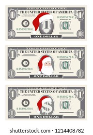 Design template one Dollar Banknotes with Santa Claus and red hat. 1 dollar bill for Christmas sales, grey color. Suitable for discount cards, leaflet, coupon, flyer, vouchers. Vector in flat style.
