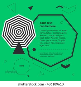 Design template with op art heptagon. Plain geometric shapes in simple minimal banner. Space for text in graphic background. Abstract objects poster. Optical illusion polygon cover. Pastel style.