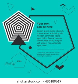 Design template with op art pentagon. Plain geometric shapes in simple minimal banner. Space for text in graphic background. Abstract objects poster. Optical illusion polygon cover. Pastel style.