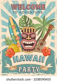 Design template of retro poster invitation for hawaiian party. Summer hawaii tropical party banner, hawaiian poster card,. Vector illustration