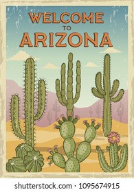 Design template of retro poster welcome to arizona. Illustrations of wild cactuses. Cactus in desert sand, summer scene landscape vector