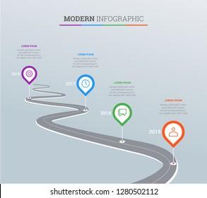 Design template, Road map business timeline. Vector Illustration. EPS10