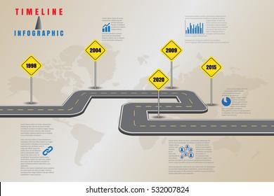 Design template, Road map business timeline, Vector Illustration