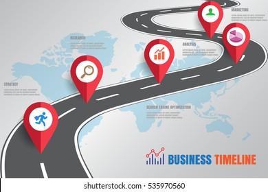 Design template: Road map business timeline, Vector Illustration