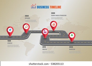 Design template, Road map business timeline, Vector Illustration