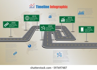 Design template, road map timeline infographic. Vector Illustration