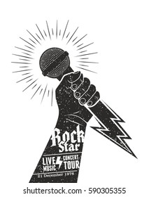 Design template for a rock music festival concept poster vector. Hand holding a microphone in a fist