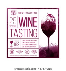 Design template with sample text for promoting your wine events. Presentation of wines, wine tasting, events or parties related to wine. Place for your text, logo of your business and sponsors. vector