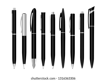 Design template, set of stationery mockup. Realistic 3d vector pens. Black metal pen for corporate identity and branding of stationery.