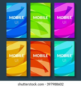 Design template set of web backgrounds. Brochure flyer. Mobile technology concept backdrop. Mobile app design template. Mobile UI interface template