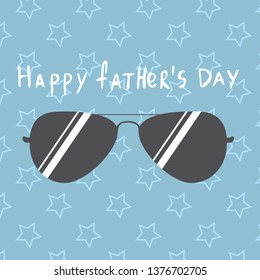 design template with sunglasses and stars pattern for father's day. Happy father's day