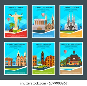 Design template of various travel cards with illustrations of famous landmarks. Vector philippine and cuba, germany and spain, vietnam and brazil