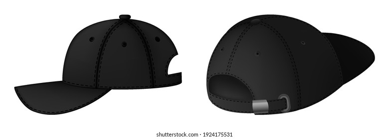 Design template, vector realistic black baseball cap front, back and side view isolated on background. Realistic back, front and side view. Vector baseball cap front and side view.