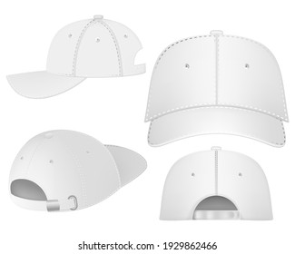 Design template, vector realistic white baseball cap front, back and side view isolated on background. Realistic back front and side view. Vector baseball cap front and side view.