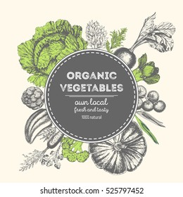 Design template for vegetables market. Menu label with organic food. Fresh vegetables hand-drawn. Vector illustration
