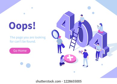 Design template for web page with 404 error. Can use for web banner, infographics, hero images. Flat isometric vector illustration isolated on white background.