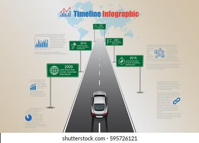 Design template, world timeline infographic. Vector Illustration
