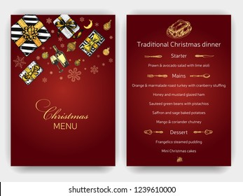 Design template with xmas hand-drawn graphic illustrations. Menu card restaurant New Year and Christmas holidays.