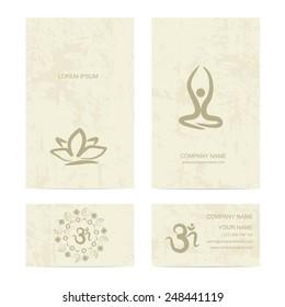 Design template for yoga studio business card, vector illustration
