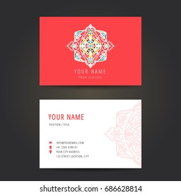 Design template for yoga studio business card, Yoga studio logo set for use yoga school, vector.