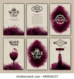 Design templates background wine stains and vintage texture. Suitable for promotions, brochures, tasting events, wine presentation or wine list. Vector