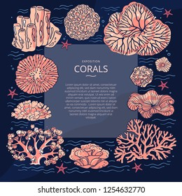 Design templates for brochures, business cards, covers, banners, with illustrations of corals. Vector flyer with corals around the text and wavy lines for design. Deep sea background. Branding design.