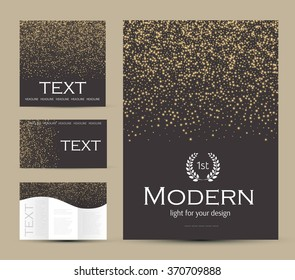 Design Templates Collection for Banners, Flyers, Placards, Cover and Posters. Gold Particles Elegant Design. Shining Banners Set. Vector illustration