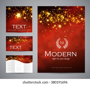 Design templates collection for banners, flyers, placards and posters. Wave light design. Shining banners set. Vector illustration