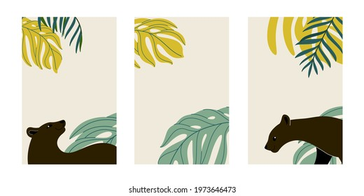 Design templates in flat style. Social media banner with panther and tropical leaves. Summer sale, media promotional content.