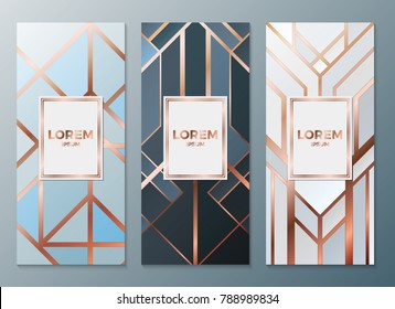 Design templates for flyers, booklets, greeting cards, invitations, packaging and advertising. Vector set packaging templates in art deco style for luxury products. Vector illustration eps10.