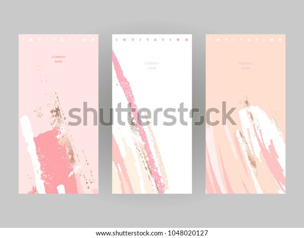 Design templates. Invitations to a company event.  Can be used in perfumery, cosmetic and fashion business. Pastel colors and gold brush strokes.