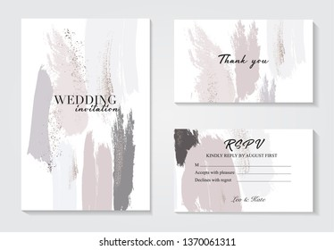Design templates in pastel grey pink colors.Event invitation mockup. Can be used in perfumery, cosmetic and fashion business. Pastel colors and gold brush strokes