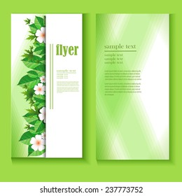 Design templates with spring flowers for business  Business cards and flyer with floral ornaments for design