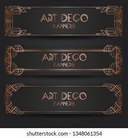 Design templates for web promotion bsnners and advertising. Vector set vertical templates in art deco style for luxury products. Vector illustration eps10.