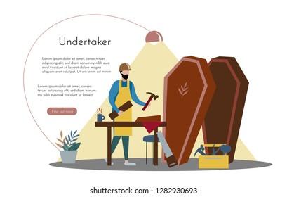 Design template.Undertaker in the workshop. Modern vector illustration concepts for website and mobile website development.