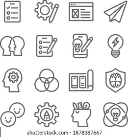 Design thinking icon illustration vector set. Contains such icons as Brainstorming, Survey, Discuss, Empathy, Test, Prototype, Ideation, Draft, and more. Expanded Stroke