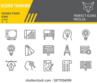 Design thinking line icon set, ideation collection, vector sketches, logo illustrations, design thinking icons, design signs linear pictograms, editable stroke