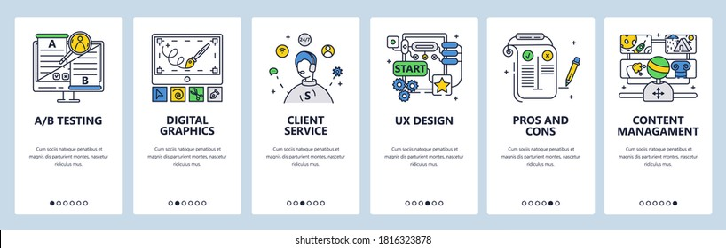Design thinking process. Digital graphics, ab testing, content management, customer service. Mobile app screens. Vector banner template for website and mobile development. Web site design illustration